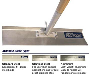 concrete placer / blade types